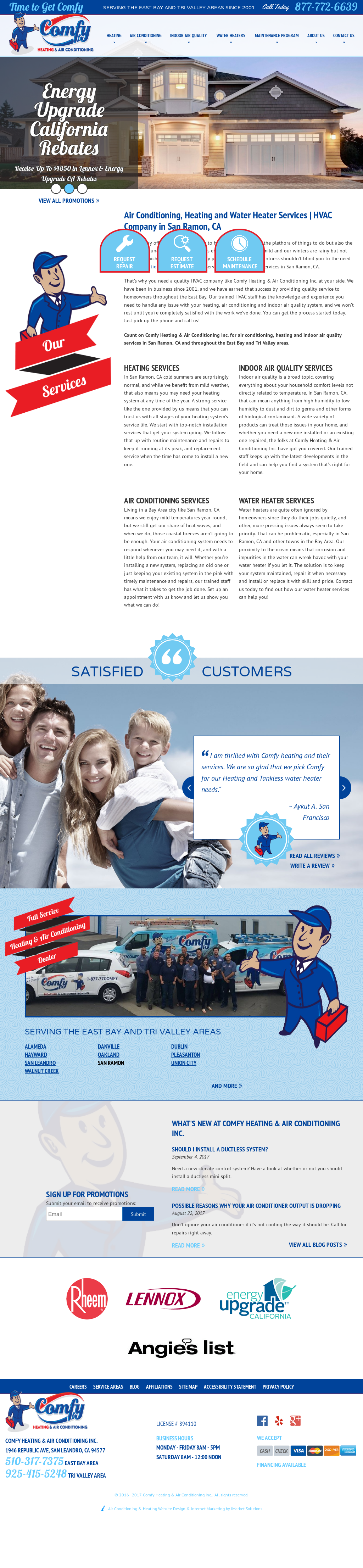Comfy Heating Air Conditioning S Website Screenshot On