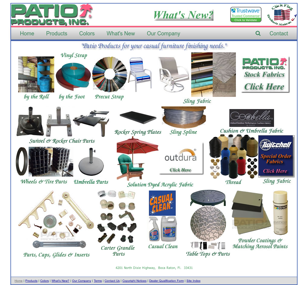 Superior PATIO PRODUCTSu0027s Website Screenshot On Sep 2017