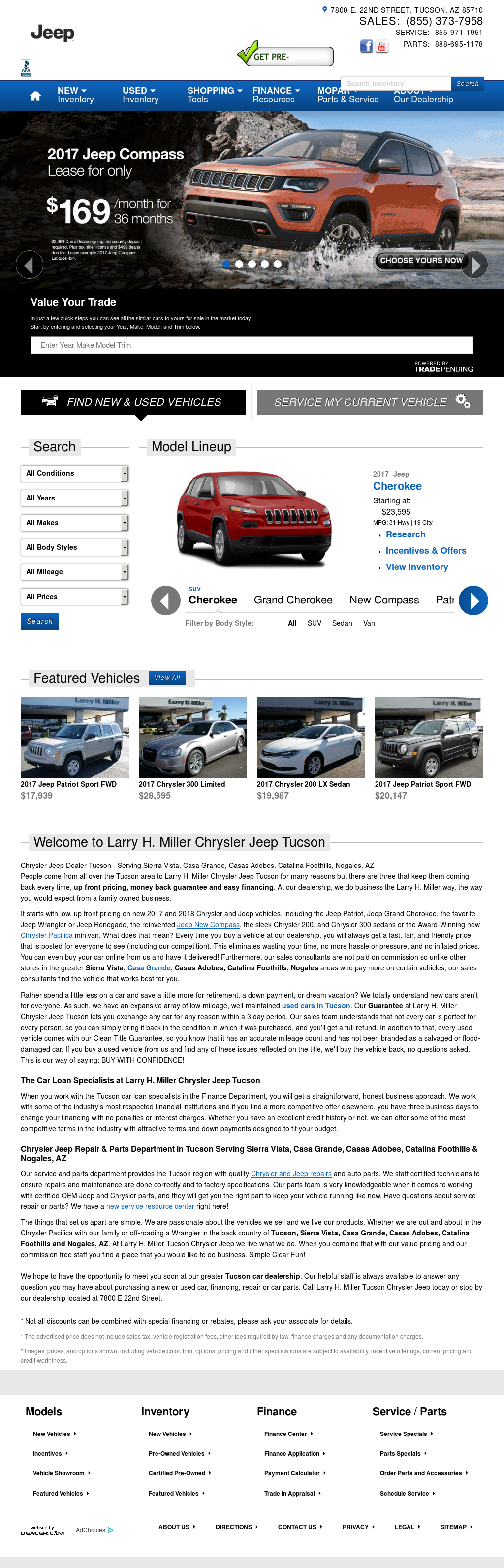 Larry H. Miller Chrysler Jeep Tucson Website History