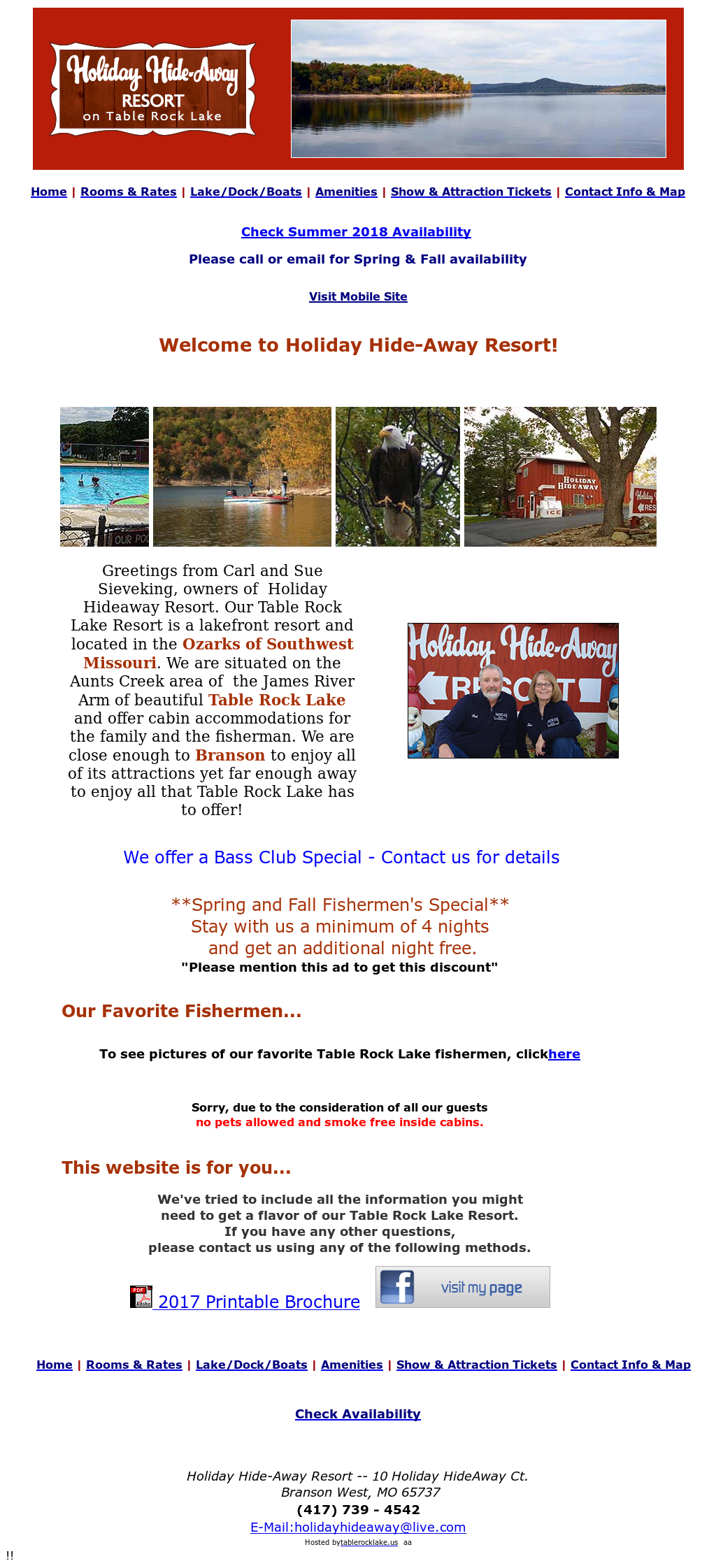 Holiday Hideaway Resort In Aunts Creek Area Of Table Rock Lake S Website Screenshot On Sep 2017