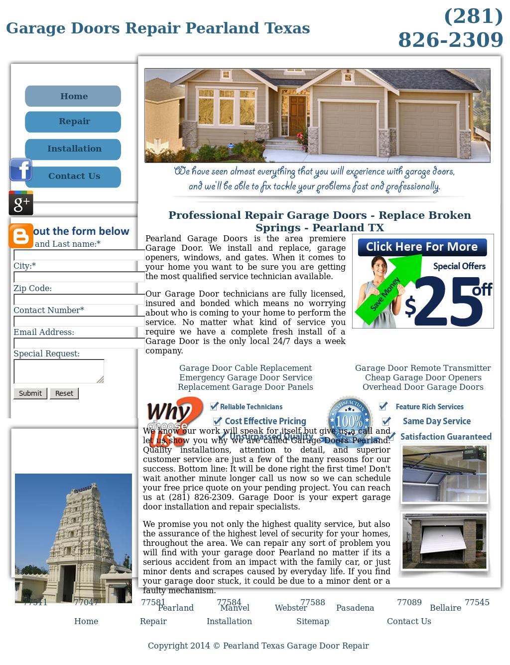 Pearland Texas Garage Door Repair Website History