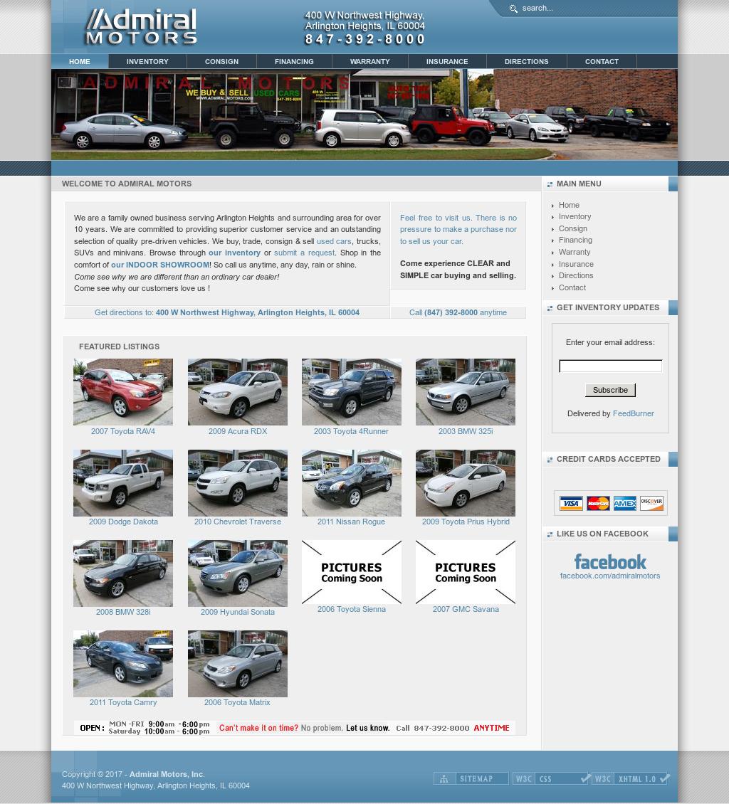 Admiral Motors website history