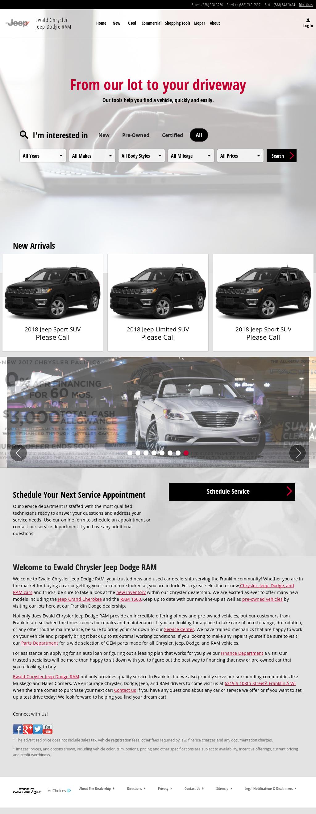 Ewald Chrysler Jeep Dodge Ram Website History