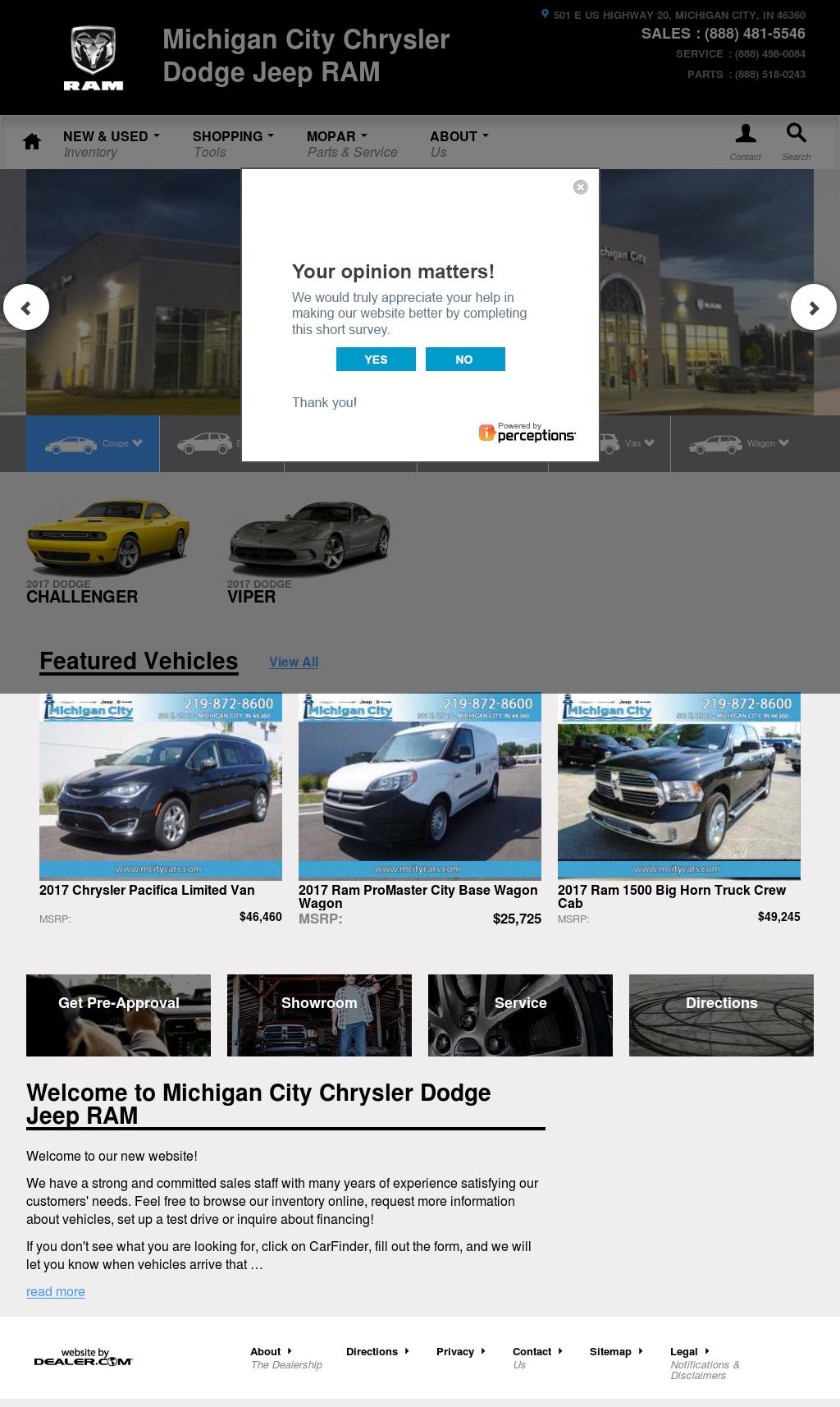Michigan City Chrysler Dodge Jeep Ram Website History