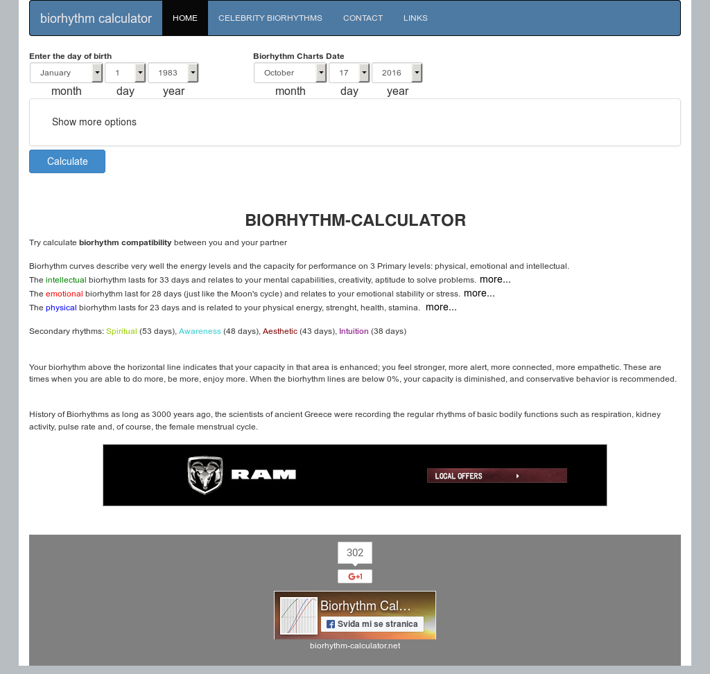 Biorhythms calculator 2016 amateur free download and software.