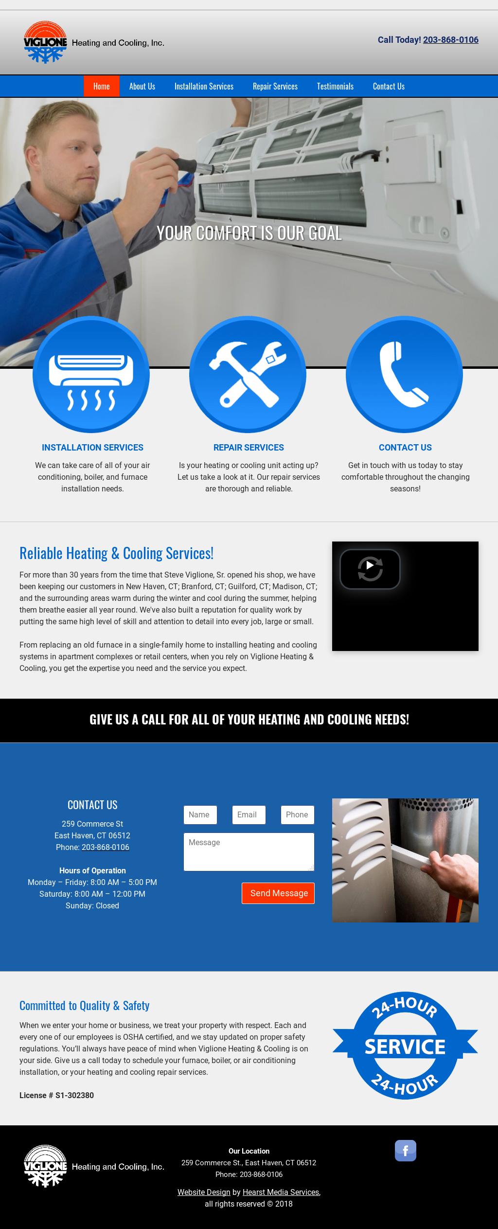 Viglione Heating Cooling S Website Screenshot On