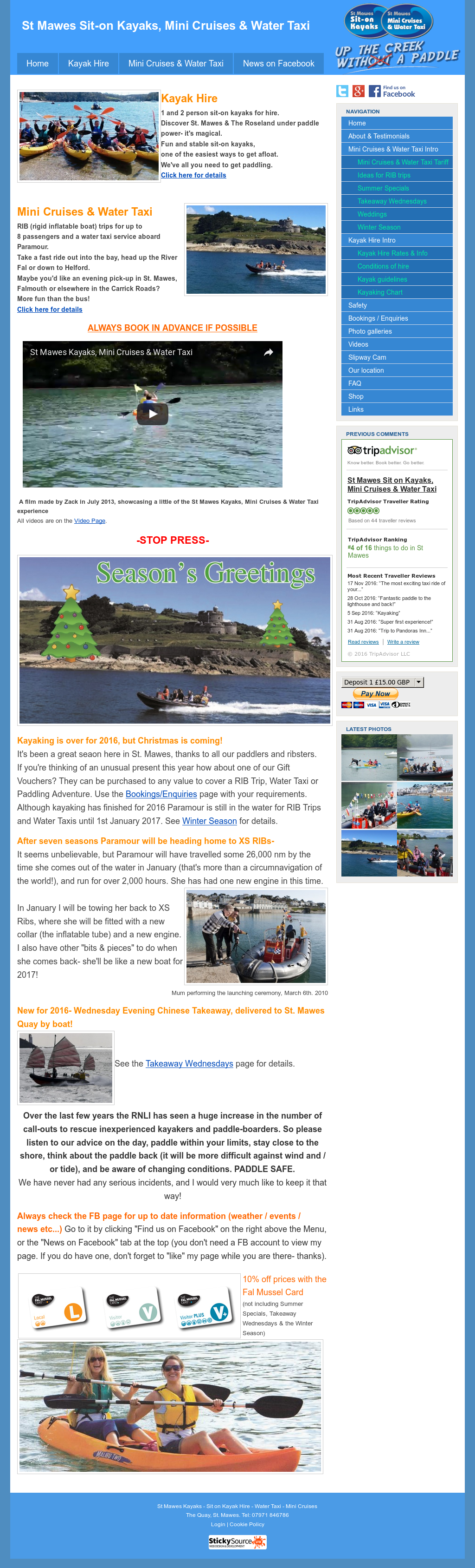 St Mawes Kayaks, Mini Cruises & Water Taxi Competitors, Revenue and
