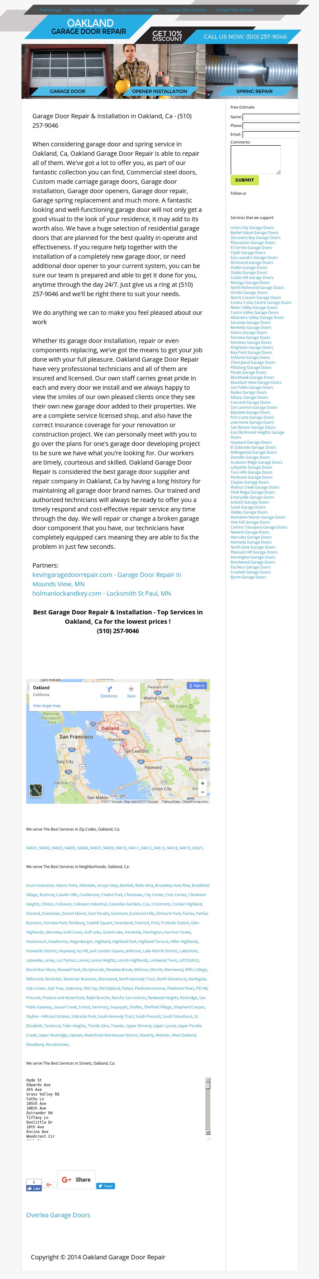 Oakland Garage Door Repair Website History