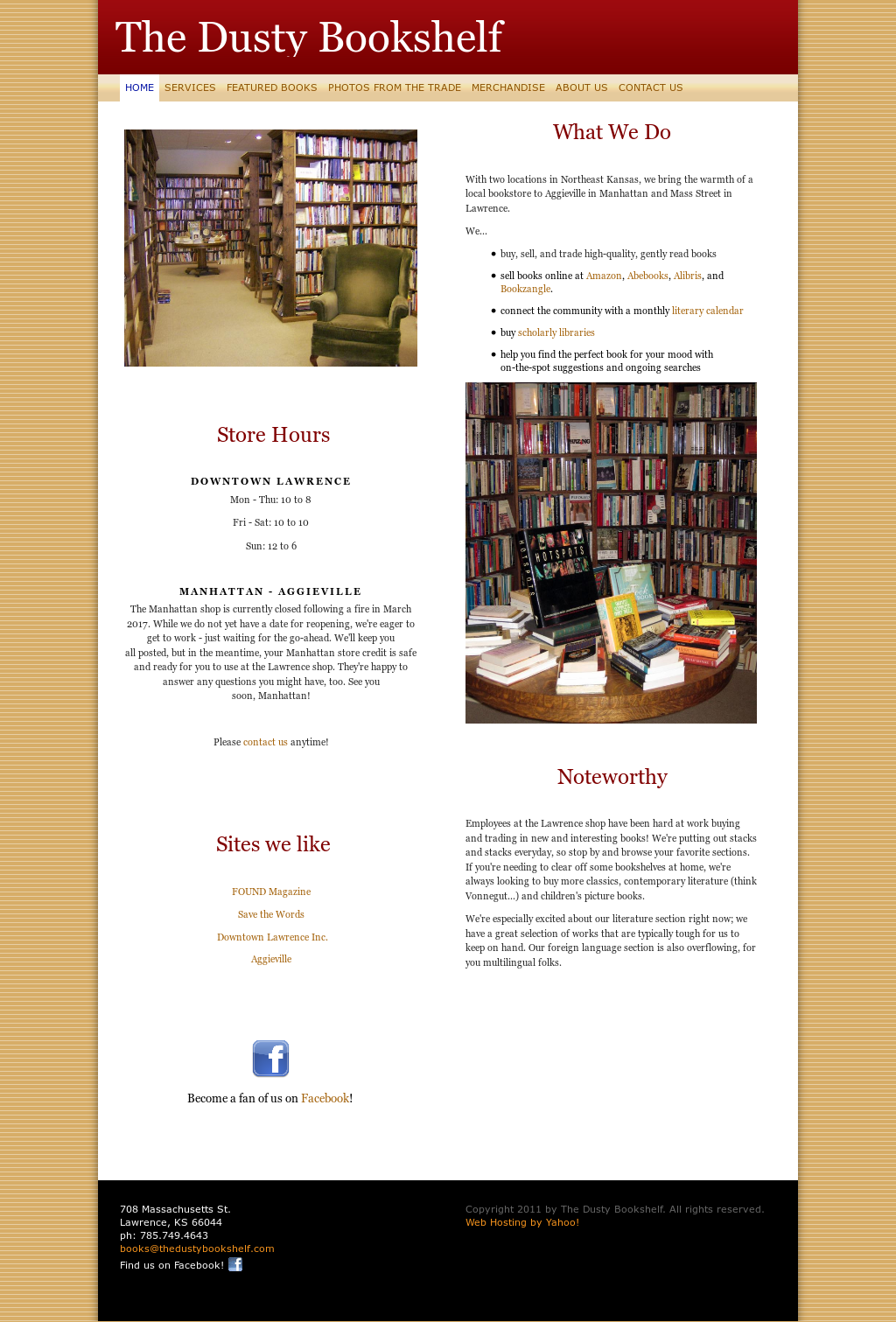 The Dusty Bookshelfs Website Screenshot On Sep 2017
