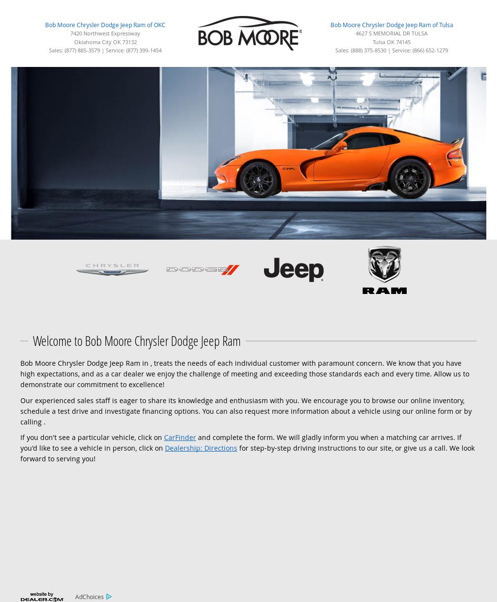 Bob Moore Chrysler Dodge Jeep Ram Website History